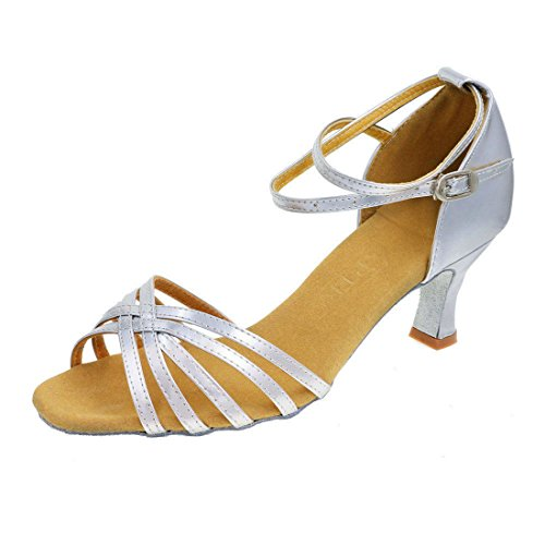GetMine Women's Professional Latin Dance Shoes Satin Salsa Ballroom Wedding Dancing Shoes 2.4