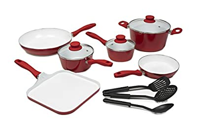 Victoria Nonstick Ceramic Coated 12-Piece Cookware Set, Red