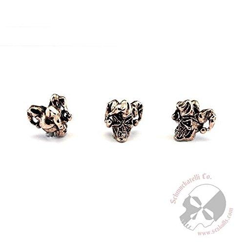 Schmuckatelli Co. Jester Mini Antique Copper Finish Pewter Skull Bead 1/8 Hole