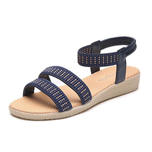 FAMILIZO Zapatos Planos De Las Mujeres Zapatos Bohemios Del Ocio Del Estilo De La Elasticidad De Los Zapatos Sandalias De Vestir Azul