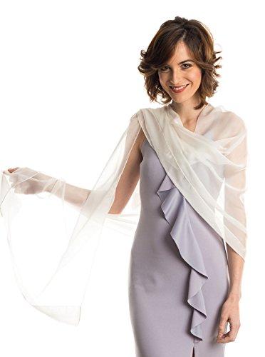 Elizabetta Evening Shawl Wrap, Pure Silk Chiffon, Made in Italy, White