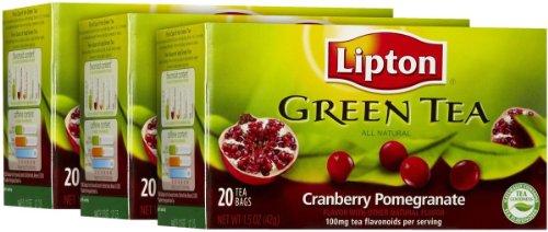 Lipton Green Tea Bags - Cranberry Pomegranate - 20 ct - 3 pk