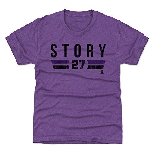 500 LEVEL Colorado Baseball Youth Shirt - Kids Large (10-12Y) Heather Purple - Trevor Story Font K ()