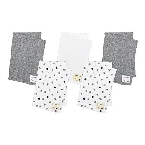 Burt's Bees Baby - 5 Pack of Burp Cloths, 100% Organic Cotton (1 Cloud, 1 Solid Color, 1 Honey Bee Print, 1 Stripe, 1 Alphabet Bee Print, Blossom)