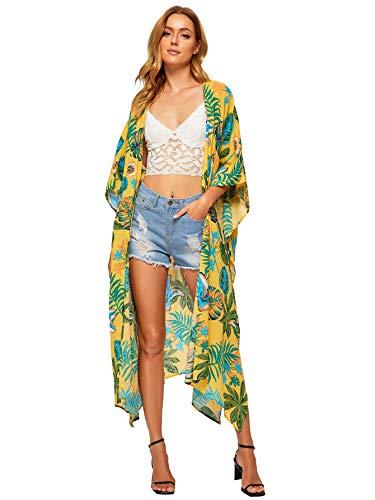 (SweatyRocks Women's Flowy Kimono Cardigan Open Front Maxi Dress Long Cover Ups Yellow #8 XS)