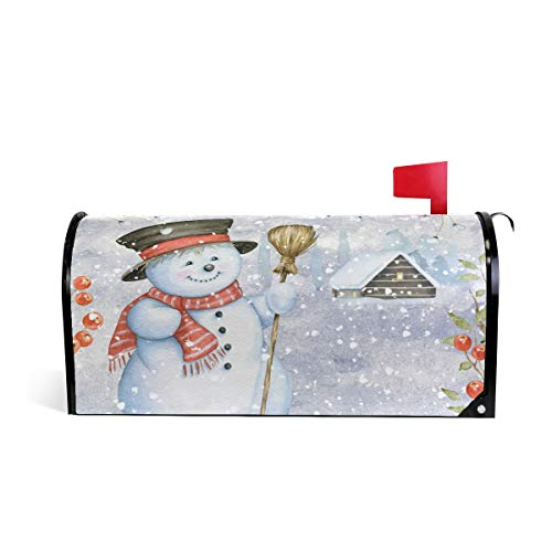 Merry Christmas Tree Santa Claus Snowman Snowflake Mailbox Cover Magnetic Standard Sized,Winter Red Poinsettia Bell Holiday Letter Post Box Cover Wrap Decoration Welcome Home Garden Outdoor 21