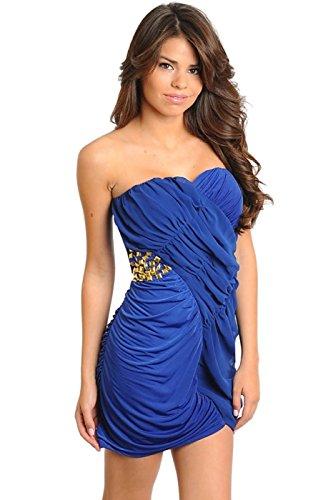 2LUV Women's Studded Ruched Mini Dress Royal Blue L
