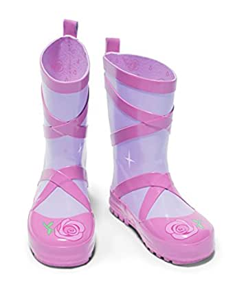Kidorable Ballerina Rainboots, Pink, Size 1 M US, Natural Rubber Boots with Cotton Lining, Pull On Heel Tab & Non-Slip Sole