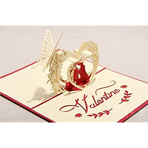 3D Laser-cut Gift & Greeting Card With Lover & Heart for Valentine Day Sweet Loves' Gift (RED CARD) Sales