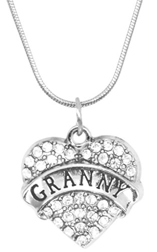 for Granny Necklace Engraved Gift Jewelry for Granny Crystal Adorned Heart Shaped Pendant Snake Chain Necklace Gift for Mom or Grandma Colorless