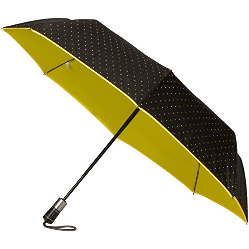 Glass Ribs (RainPrüf Travel Umbrella, Windproof Fiberglass Ribs, Auto Open Close, Attractive Custom Polka Dot Design, Luxury Handle, Double Layer)