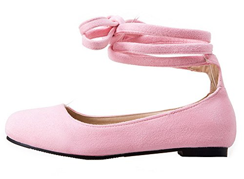 con no color tacón punta heladas sin cordones para rosa cerrada sólidas redondo mujer Bombas con VogueZone009 de zfYUqB