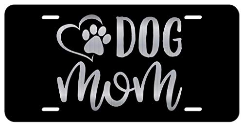 Dog Mom Paw Heart Vanity Front License Plate Tag KCE310