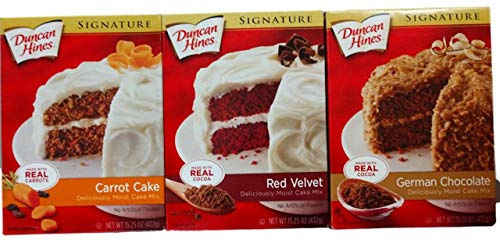 Signature Cake Mix Assortment-3 Flavors-Carrot Cake, German Chocolate and Red Velvet