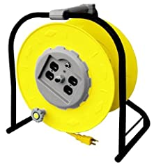 """Heavy duty portable power wind-up cord reel Four (NEMA 5-20R) Receptacles Accepts 15 Amp (NEMA 5-15P) or 20 Amp (NEMA 5-20P) Plugs Built in 15 Amp resettable circuit breaker Illuminated Power """"On"""" Indicator Super Strong Steel Tubular Construc..."""
