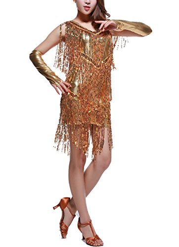 Whitewed Sparkle Gold Sequin Flapper Style Dresses Costumes with Fringe Juniors, Gold, 0/2 -