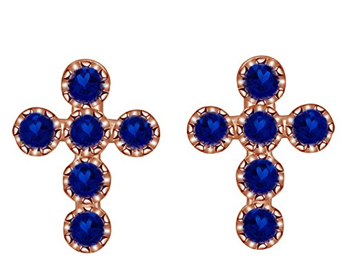 (Mothers Gift Simulated Blue Sapphire Cross Stud Earrings 14K Rose Gold Over Sterling Silver)