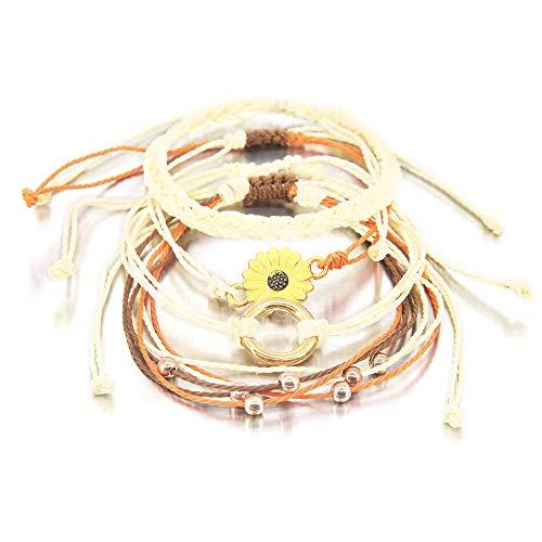 (4 Pieces Sunflower Bracelet Braided Rope Bracelet Waterproof String Ocean Surfer Bracelet Colorful Beaded Boho Charms for Women Girl )