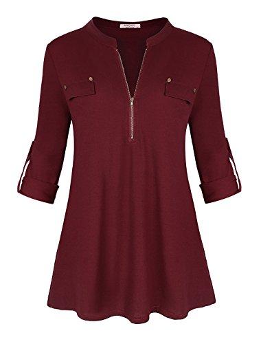Ya Ya Hood Womens Split V-Neck 3/4 Roll-Up Sleeve Zip Up Casual Shirt Blouse Top
