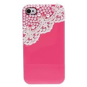 conseguir Diseño simple encaje y perlas dulce cubiertos estuche rígido con adhesivo de uñas para el iPhone 4/4S (colores surtidos) , Verde