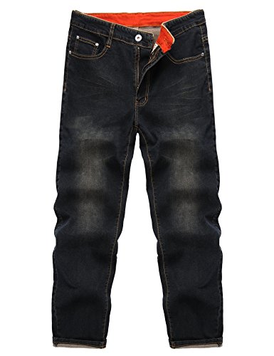 - Gotchicon Men Fashion Mid Waist Zip Fly 5 Pockets Regular Fit Jeans