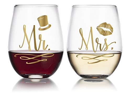 14K Gold Leaf Mr & Mrs 19oz Stemless Wine Glasses, Top Hat & Kissing Lips (2pk) ()