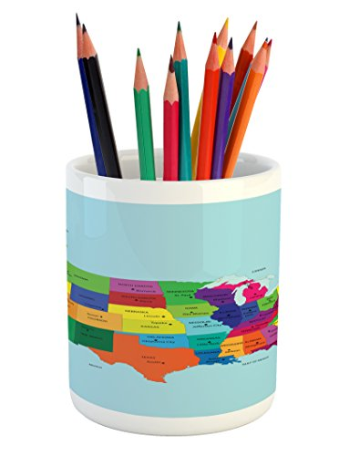 Cheap  USA Pencil Pen Holder by Lunarable, Educational Map of America USA with..