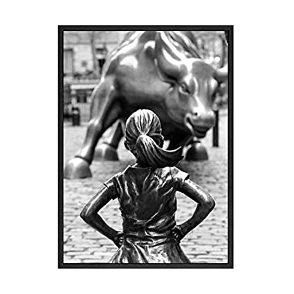 Gimax Fearless Girl Statue Black and White Street Art Poster New York Canvas Prints Feminist Girl Power Art Canvas Painting Wall Decor - Size Inch : A4 21x30cm No Frame, Color: Picture 1