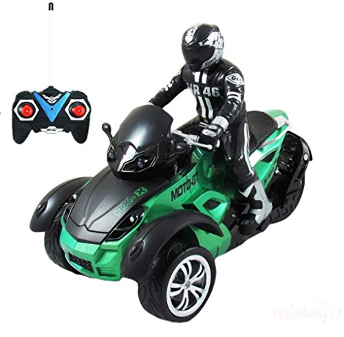 Haktoys HAK142 MotoHawk 1:10 Scale R/C ATV | Multi-Functional 3-wheeled Radio Control Car Green Motorcycle Road Racer with LED Headlights | Safe and Durable Toy for Kids, Teens and ()