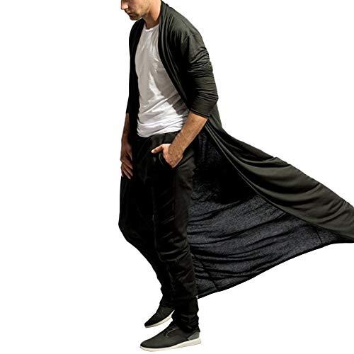 Caopixx Mens Cardigan Open Front Long Sleeve Sweater Draped Lightweight Longline Long Shirt with Pockets -