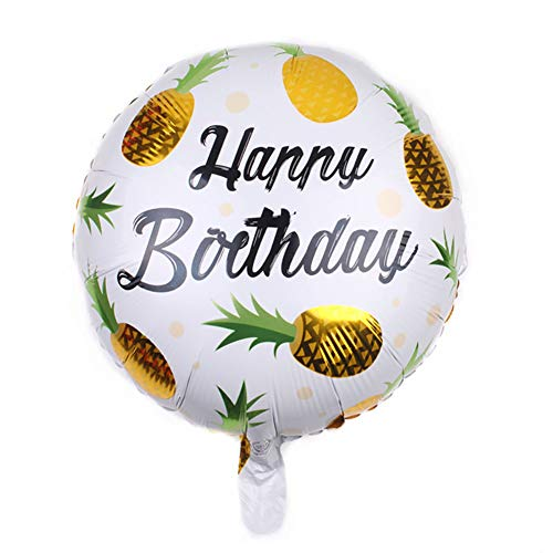 Weimay Round Fruit Pineapple Pattern Balloon Christmas Child Birthday Party Celebration Scene Arrangement Decorative Balloon Beautification Props Yellow Pack of -