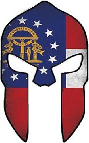 Georgia Stickers Flag (Molon Labe Georgia Shape Flag Spartan Helmet Bumper Sticker Hard HAT Sticker Laptop Sticker)