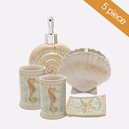 (HotSan bathroom accessory Set, 5 PCS Beach Seashells Ensemble Set Includs Soap Dispenser, Soap Dish, Tumble, Toothbrush Holder - Ivory Polyresin Set for Man, Woman,)