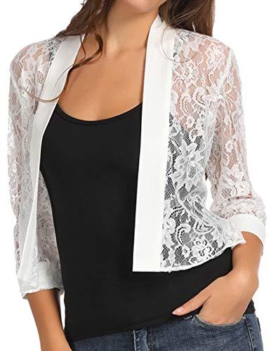 Stylish Women's 3/4 Sleeve Lace Jacket Shrug for OL(Ivory,XL) ()