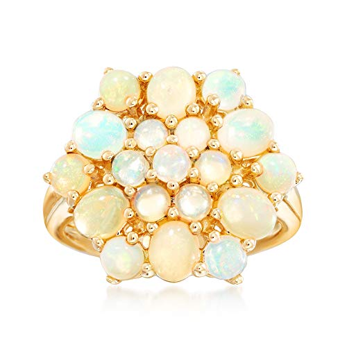 (Ross-Simons Opal Cluster Ring in 14kt Yellow Gold)