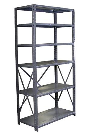 "Borroughs CO6-36187 Steel RTA Open Type 6-Shelf Back Room Storage Unit, 400 lbs Capacity, 36"" Width x 7' Height x 18"" Depth, Gray"