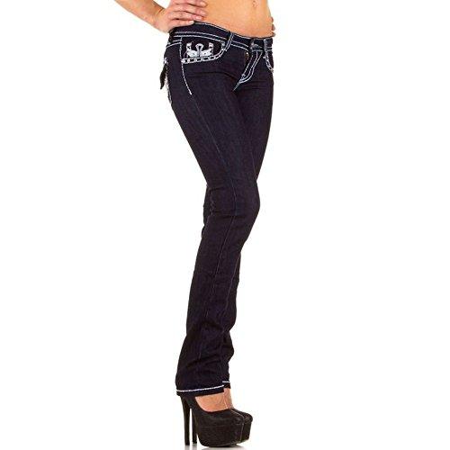 Cuciture Con Strass Bianche Contrasto Elasticizzati Blanco Blu A Pantaloni Scuro Donna E Store Denim Jeans xqPpR