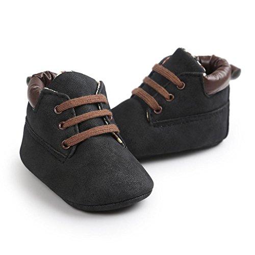 Tefamore calzado niño y niña de deporte de primeros pasos de antideslizante de solo suave de moda invierno de calentar Negro