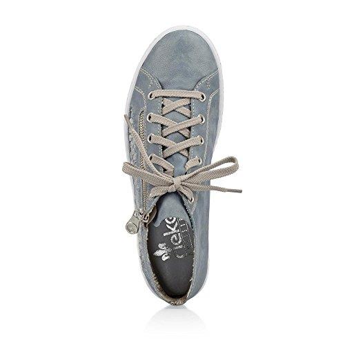12 con blue 12 grey Zapatos blue L4812 grey cordones azul Mujeres Rieker w68TEqXw