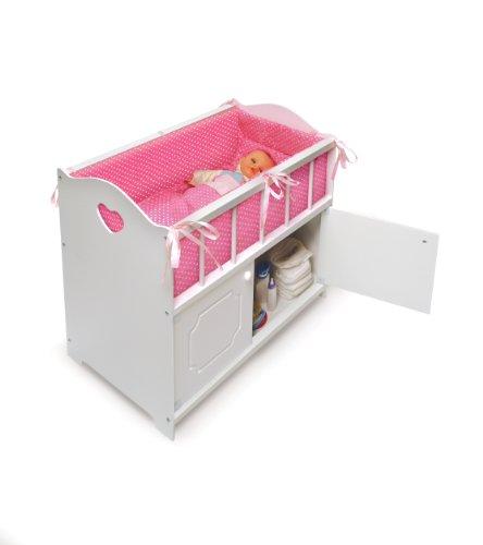 Badger Basket White Storage Doll Crib with Bedding (fits American Girl dolls) by Badger Basket (Image #2)