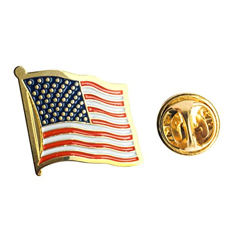 Pin Lapel Gold Plated Flag (Gold Plated American Flag Pins, Lapel Pin Used for Cap, Shirts 3/4 by 3/4 Inch)