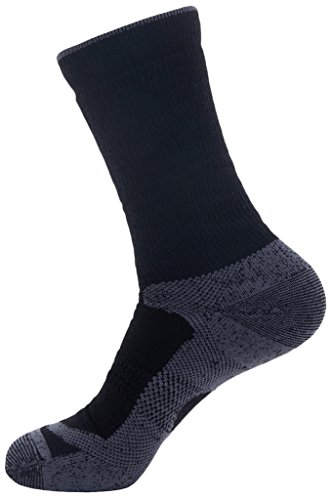 Wantdo Men's Ski Crew Socks for Winter Seamless Moisture Control Blend Wool(Black Grey,US (Blend Skis)