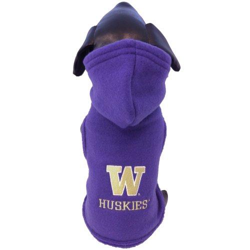 All Star Dogs NCAA Washington Huskies Polar Fleece Hooded Dog Jacket, Tiny