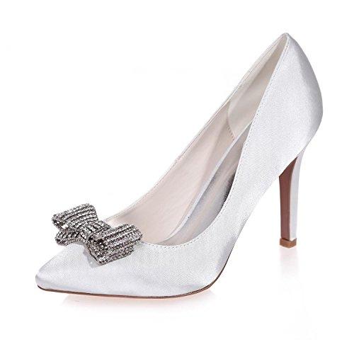 De Disponibles MáS Para Mujer Boda De 0608 Seda Fiesta Para L 26 Noche Colores Y Tacones White Zapatos YC q4BgTv