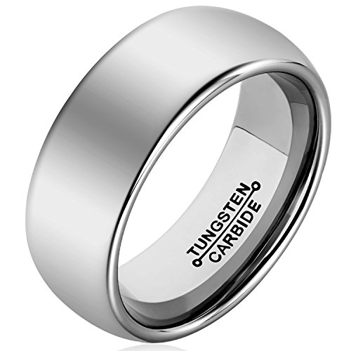 MNH Men's Ring Tungsten Carbide Wedding Engagement Band 8mm Polished Comfort Fit Domed Size 7-13