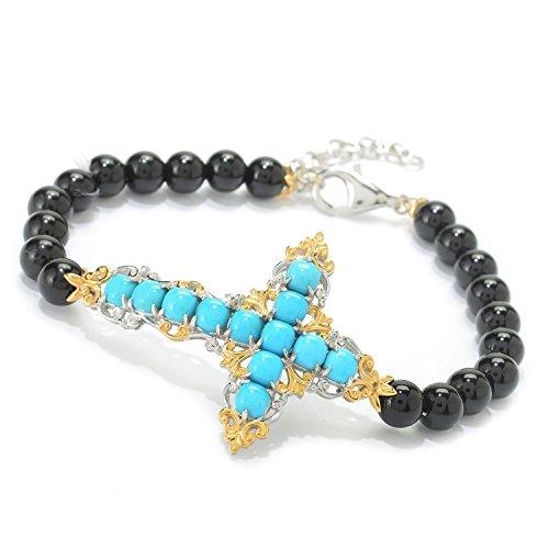 Michael Valitutti Palladium Silver Sleeping Beauty Turquoise & Black Onyx Sideways Cross Bracelet