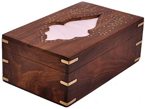 Wood Large Handmade Decorative Tissue Dispenser, Wooden Leaf Design Inlay work Wood Bathroom Facial Tissue Box Holder Cover / Napkin Dispenser 10 X 6 Inch [Handmade] ()