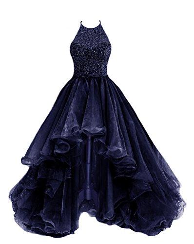 TBGirl Women's High Low Beading NavyBlue Organza Halter Prom Dresses