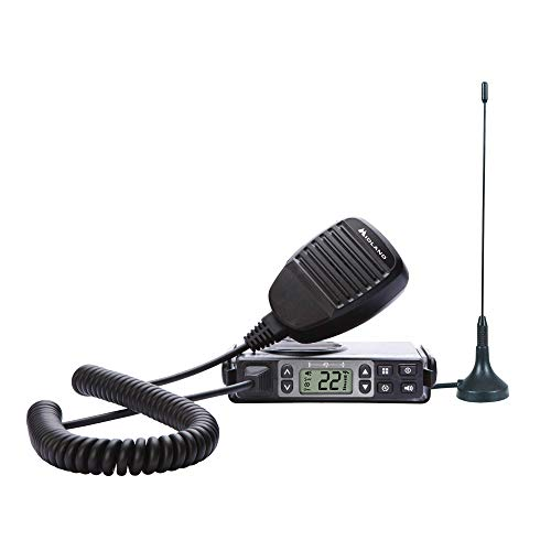 Midland - MXT105, 5 Watt GMRS MicroMobile Two-Way Radio - Up to 40 Mile Range Walkie Talkie, 142 Privacy Codes, NOAA Weather Scan + Alert (Single Pack) - Electronics Corporation Cobra Adapter