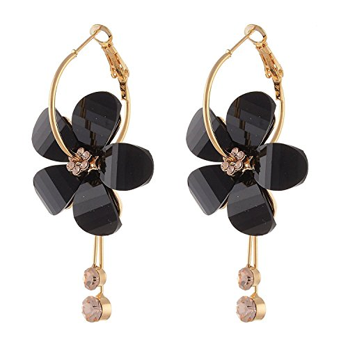 Crunchy Fashion Indian Bollywood Style Floral Theme Gold Tone Drop Dangle Earrings for Women